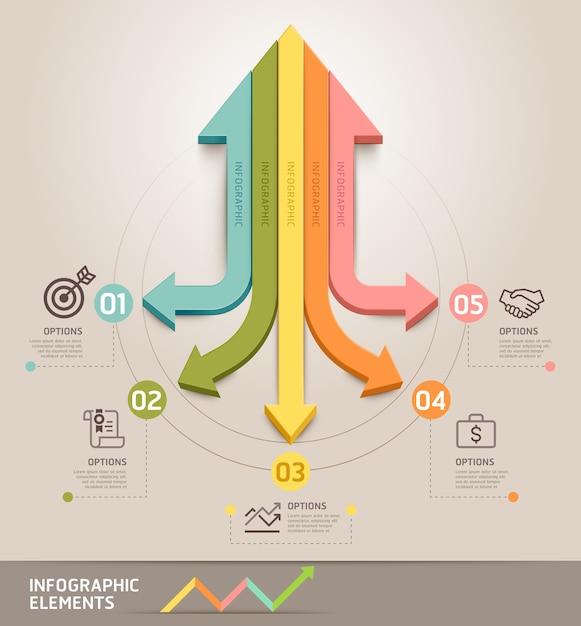 Moderne pfeil infografiken vorlage. kann für workflow-layout, diagramm, nummernoptionen, web, infografiken und zeitachse verwendet werden. Premium Vektoren