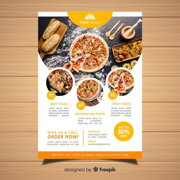 Moderne pizza restaurant flyer vorlage Kostenlosen Vektoren