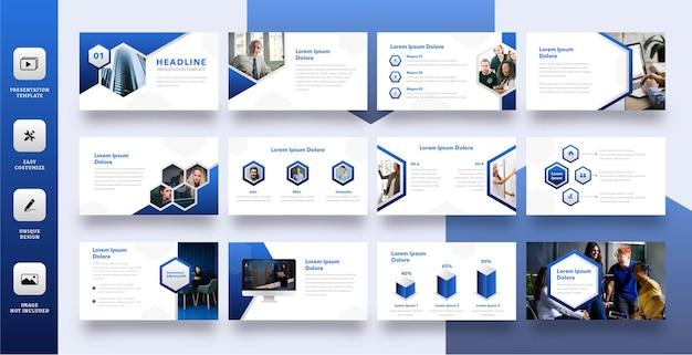 Moderne polygon-unternehmensfolienpräsentationsschablone Premium Vektoren