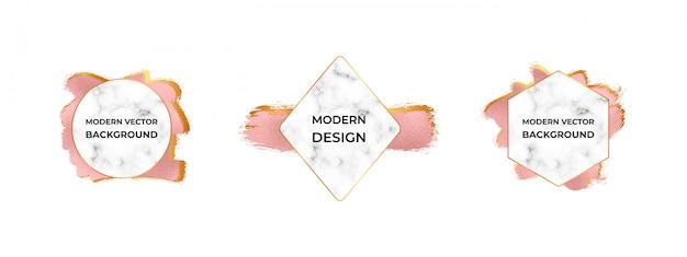 Moderne rahmen mit marmorstruktur auf der pinselstrichstruktur der roségoldfolie. Premium Vektoren