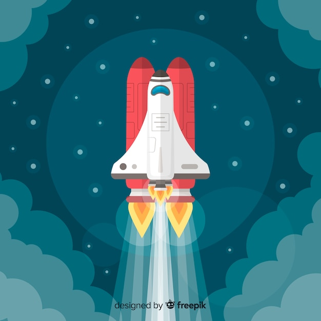 Moderne raketenzusammensetzung mit flachem design Kostenlosen Vektoren
