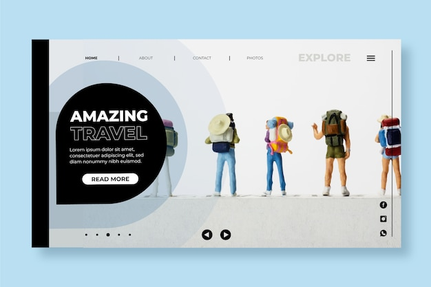 Moderne reiselandungsseite mit foto Kostenlosen Vektoren