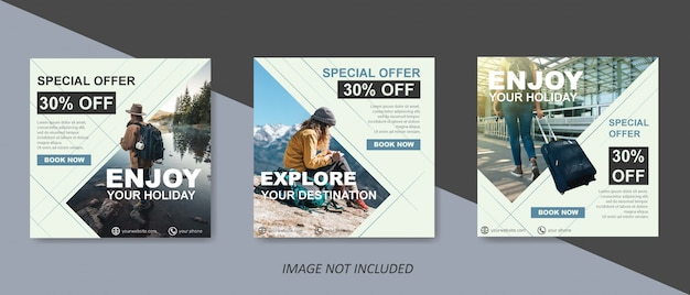 Moderne reiseverkaufsschablone für social media-beitrag Premium Vektoren