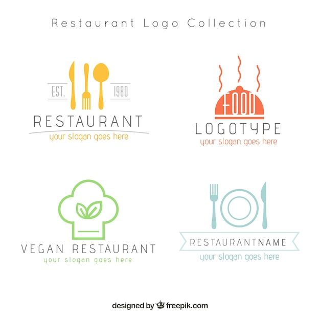 Moderne restaurant-logos Kostenlosen Vektoren