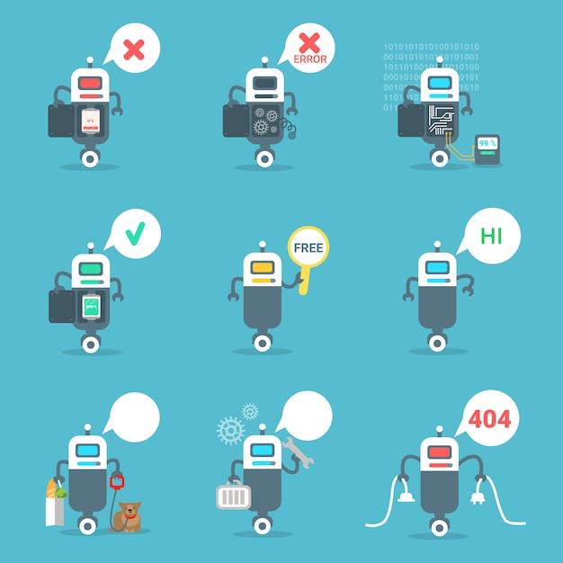 Moderne roboter-ikonen stellten chat bot artificial intelligence technology concept ein Premium Vektoren