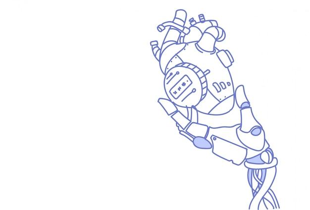 Moderne roboterhand, die unterstützung der künstlichen intelligenz des stahlroboterherzens hält Premium Vektoren