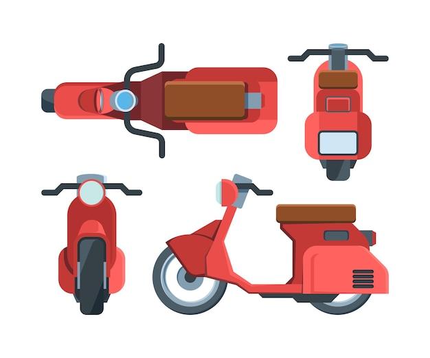 Moderne rote rollerfahrradflachillustration Premium Vektoren