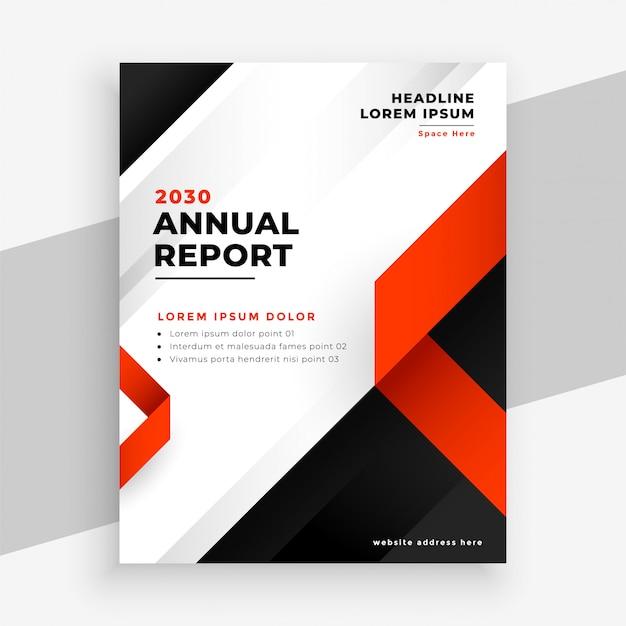 Moderne rote und schwarze broschürenvorlage des jahresberichts Kostenlosen Vektoren