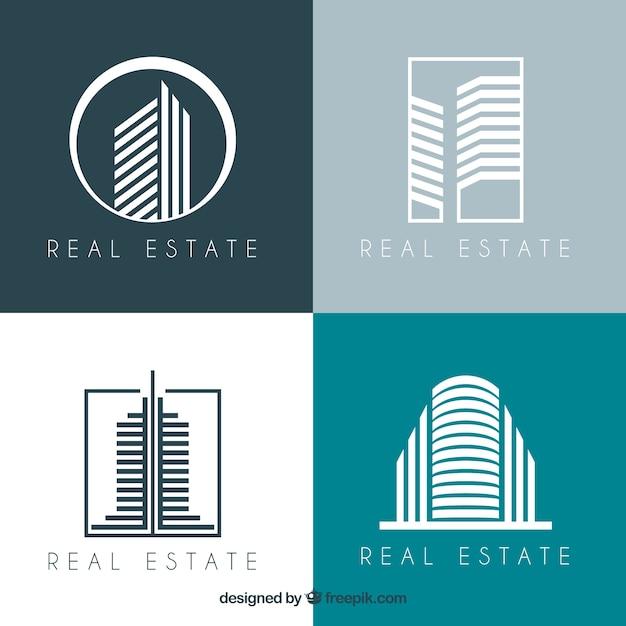 Moderne Sammlung Von Immobilienfirmenzeichen Kostenlose Vektoren