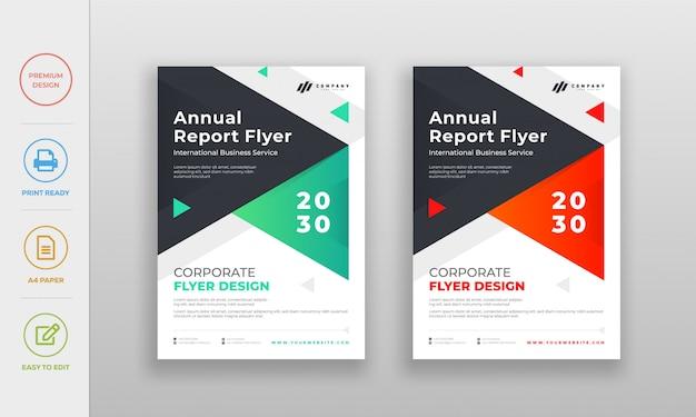 Moderne saubere unternehmens-, firmenjahresbericht-flyerplakatdesignschablone Premium Vektoren