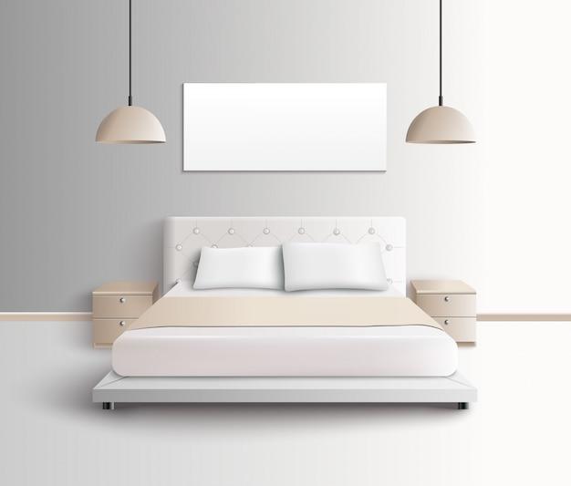 Moderne schlafzimmer-innenzusammensetzung Kostenlosen Vektoren