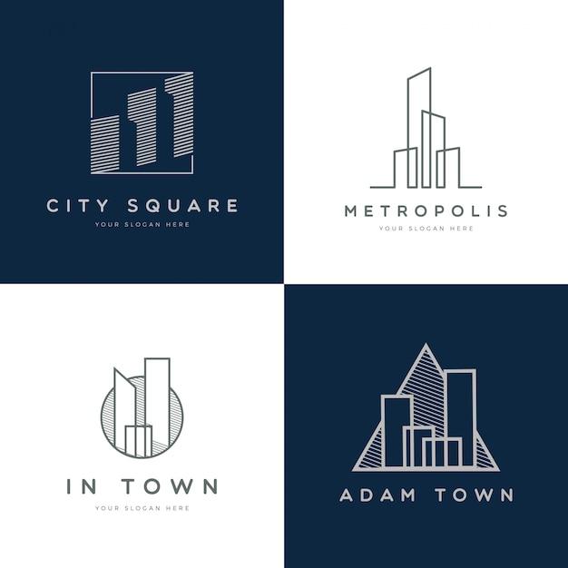 Moderne schlichte immobilienlogosammlung Premium Vektoren