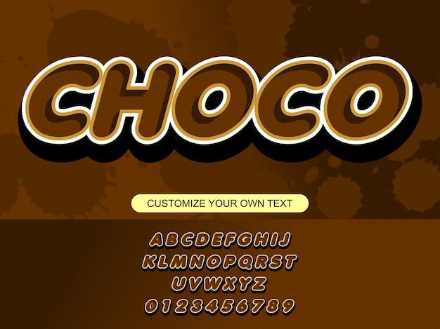 Moderne schokolade mutige modische editierbare typografie Premium Vektoren