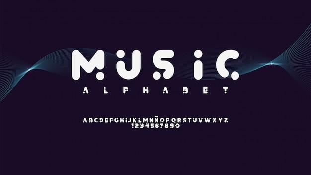 Moderne schrift mit musikstil Premium Vektoren