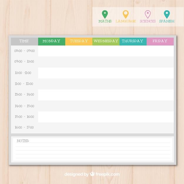 Moderne Schule Zeitplan Vorlage mit Pins | Download der kostenlosen ...