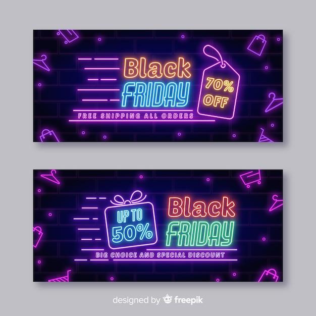 Moderne schwarze freitag-fahnen mit neonlichtern Kostenlosen Vektoren