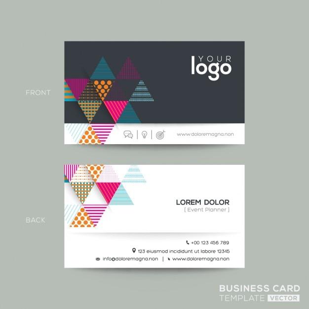Moderne Schwarze Visitenkarte Mit Bunten Dreieck Hintergrund Design Kostenlose Vektoren