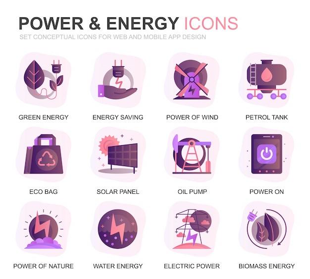 Moderne set power industry und energie farbverlauf flache symbole Premium Vektoren