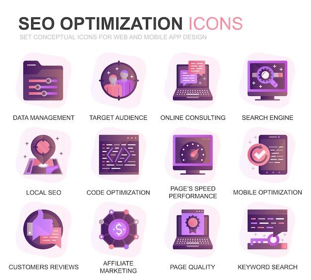 Moderne set seo und web optimization gradient flat icons Premium Vektoren