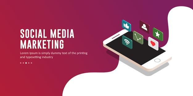 Moderne social media-marketing-illustration, schablone Premium Vektoren