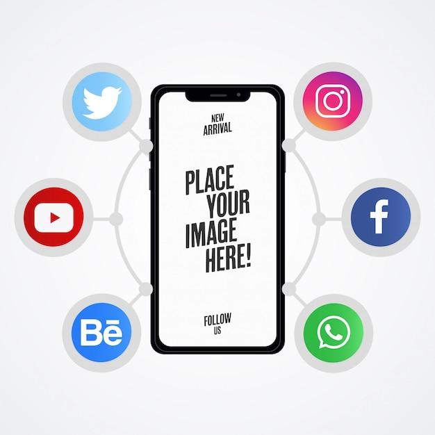 Moderne social media-präsentation mit telefon-mock-up Kostenlosen Vektoren