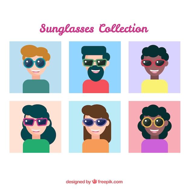 Uberlegen Moderne Sonnenbrille Sammlung Mit Menschen Posiert Kostenlose Vektoren