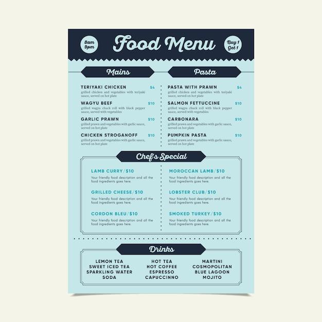 Moderne speisekarte vorlage mit verschiedenen gerichten Kostenlosen Vektoren