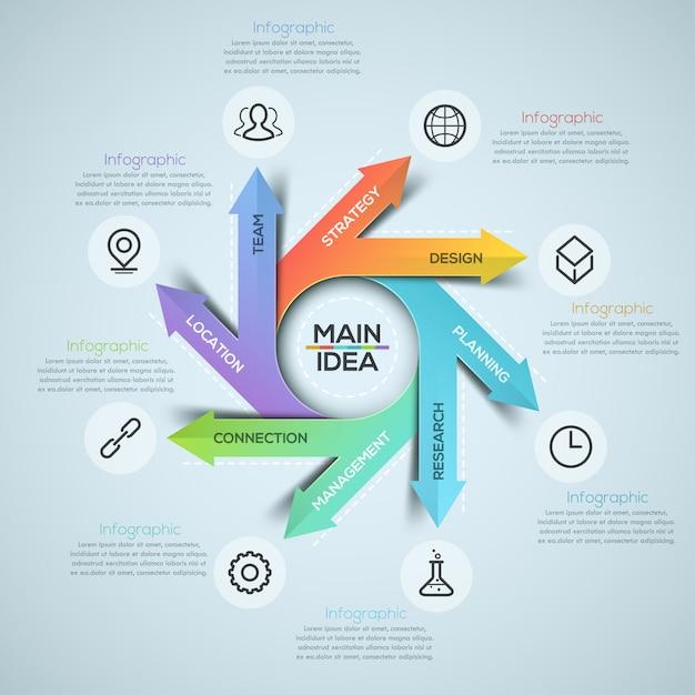 Moderne spirale infografiken optionen banner Premium Vektoren