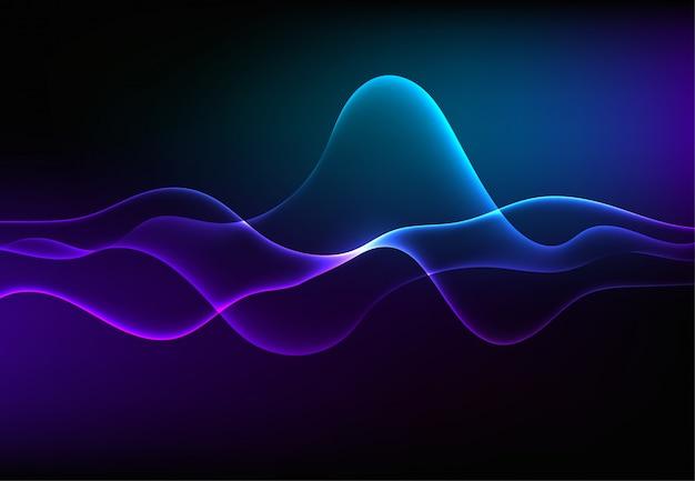 Moderne sprechende schallwellen, die dunkelblaues licht oszillieren Premium Vektoren