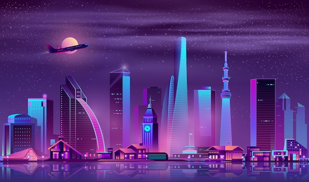 Moderne stadt am nachtkarikaturvektorhintergrund Kostenlosen Vektoren
