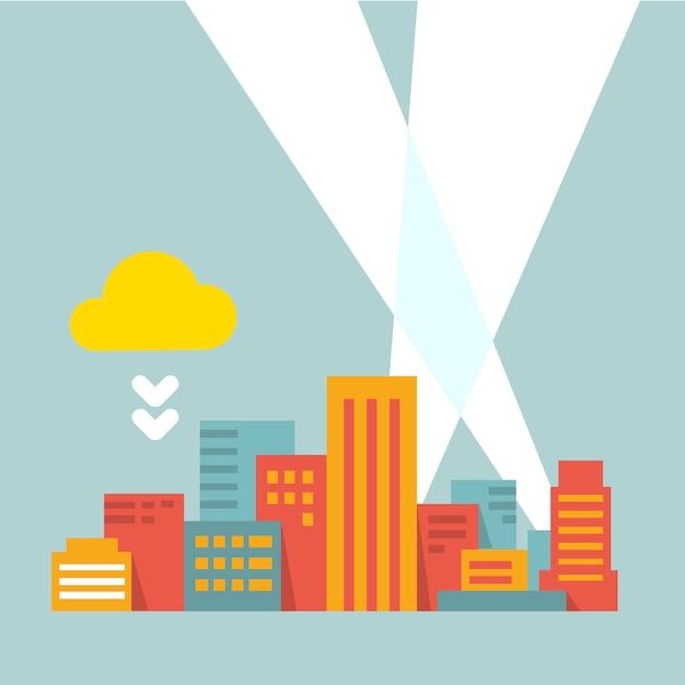 Moderne stadt in den hellen lichtstrahlen, flachen stil Premium Vektoren