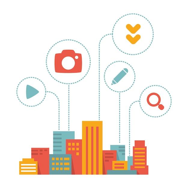 Moderne stadt mit ikonen, flachen stil Premium Vektoren
