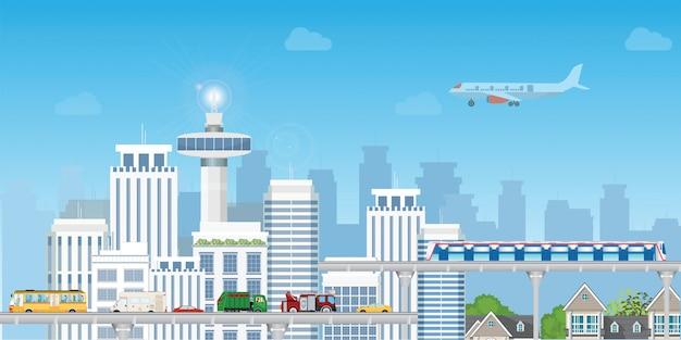 Moderne stadt mit landstraßen-straßen-und untergrundbahn über wolkenkratzern. Premium Vektoren