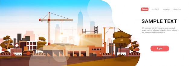 Moderne stadtbau landingpage vorlage Premium Vektoren
