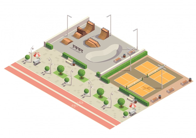Moderne stadtspark-freizeitsportumgebung zum skateboarden inline-skaten radfahren spielen tennis isometrische zusammensetzung Kostenlosen Vektoren