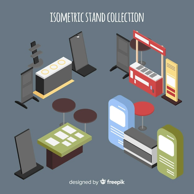 Moderne standkollektion mit isometrischer sicht Kostenlosen Vektoren