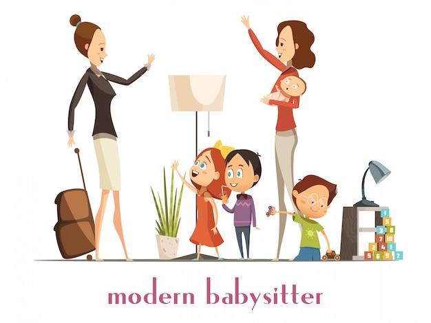 Moderne stilvolle babysitter-kindermädchen, die das baby spielt mit kindern hält und von beschäftigter mutter ca abschied winkt Kostenlosen Vektoren