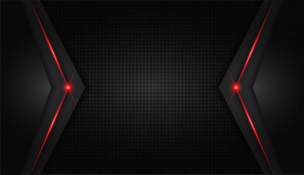 Moderne technologie des abstrakten metallischen roten glänzenden farbschwarzen rahmenplans Premium Vektoren