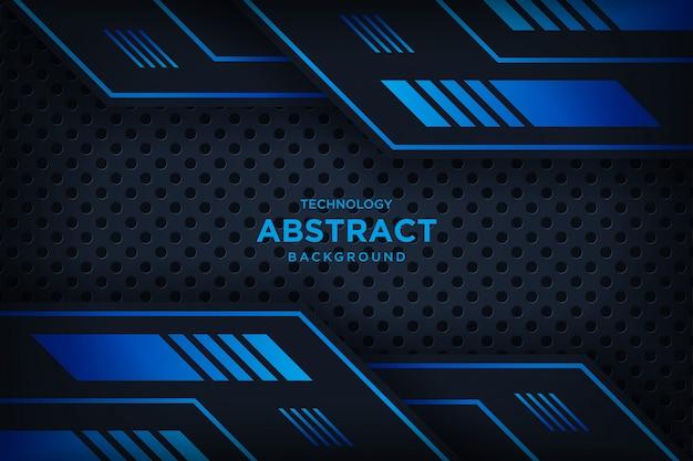 Moderne technologie des abstrakten metallischen schwarzen blauen rahmenplans Premium Vektoren