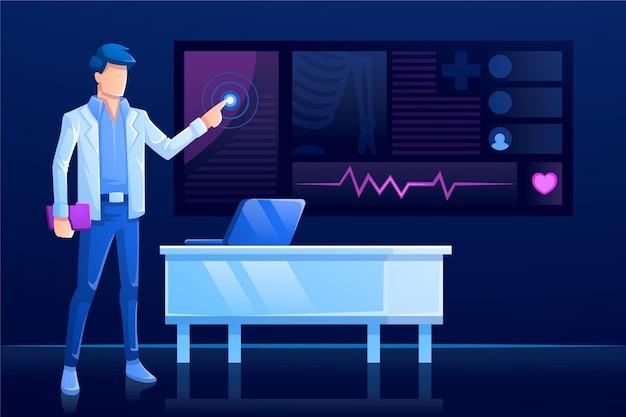 Moderne technologie und online-gespräche mit dem arzt Premium Vektoren