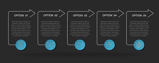 Moderne textfeld-infografik, zeitleistenprozess mit 5 optionen, pfeile Premium Vektoren