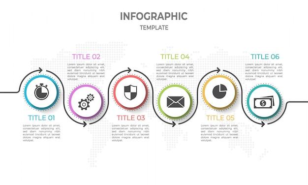 Moderne timeline-infografik mit optionen für kreis 6. Premium Vektoren