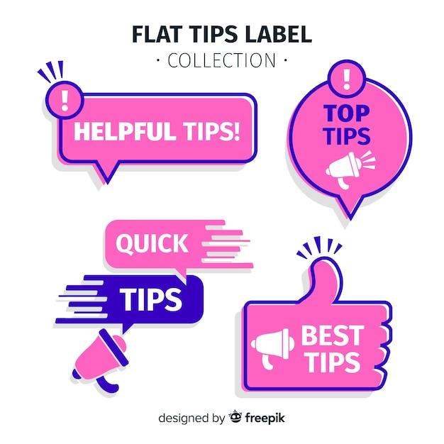 Moderne tipps label-kollektion mit flachem design Kostenlosen Vektoren