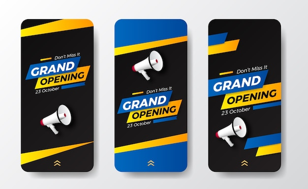Moderne trendige pop-grand-eröffnung oder wiedereröffnung event-social-media-geschichten-vorlage für ankündigungsmarketing mit sprecher megaphon und blau-gelber farbe Premium Vektoren