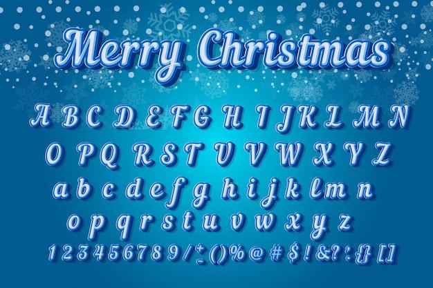 Moderne typografie des weihnachtsbunten gusses. schräg gelegenes alphabet 3d ohne serifenart für parteiplakat. Premium Vektoren