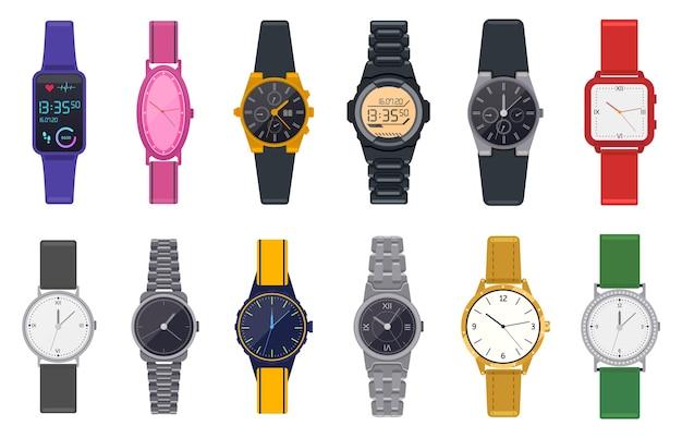 Moderne uhren. armbanduhr, unisex-zeitchronograph, smartwatch, mann frau moderne und mode armbanduhren illustration ikonen gesetzt. smartwatch tragbare und modische uhr Premium Vektoren