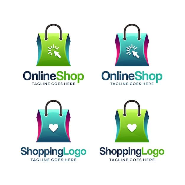 Moderne und kreative online-shop-logo-design-vorlage ...