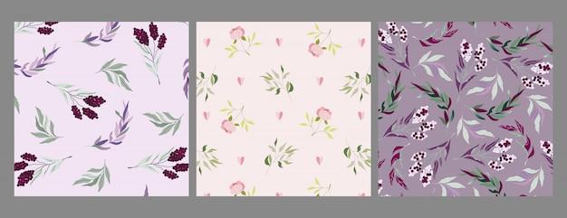 Moderne violette, lila und beige zweig- und blumenmuster. elegantes feminines ornament-set. zweige mit beeren und blättern. botanische arrangements für web, textil, stoff, schreibwaren. nahtlos Premium Vektoren
