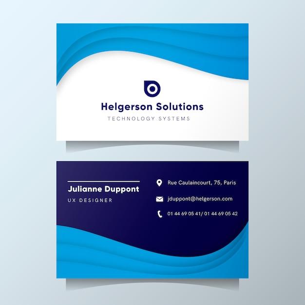 Moderne visitenkarteschablone mit blauen abstrakten formen Kostenlosen Vektoren