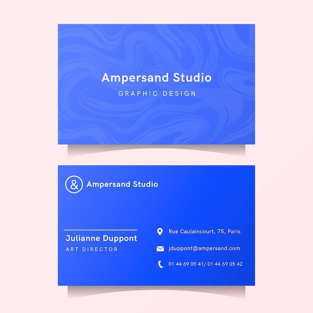Moderne visitenkarteschablone mit blauen marmorformen Kostenlosen Vektoren